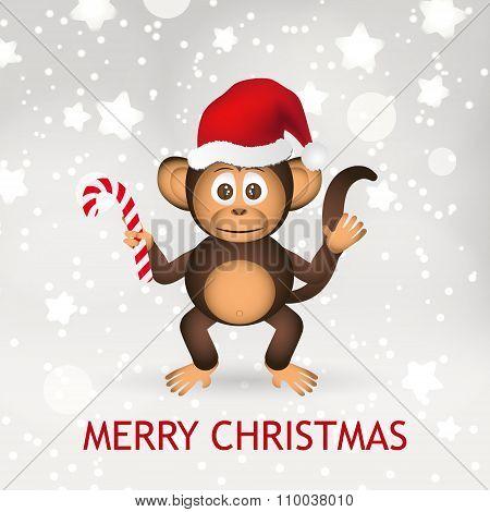 Cute Chimpanzee Little Monkey With Santa Hat Merry Christmas Card Eps10