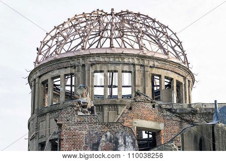 Close up view of Hiroshima Peace Memorial in Peace Memorial Park, Japan.