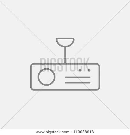 Digital projector line icon for web, mobile and infographics. Vector dark grey icon isolated on light grey background.