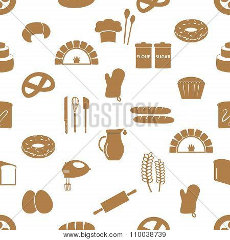 Simple Bakery Items Icons Seamless Pattern Eps10