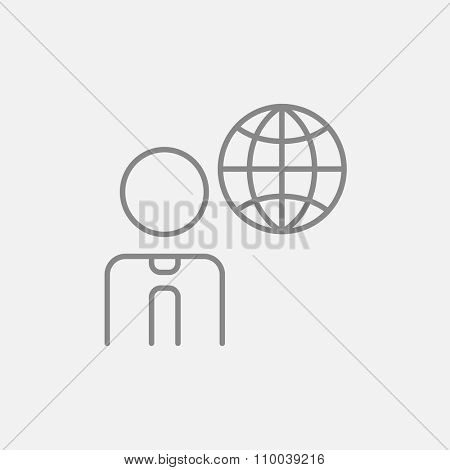 Man with globe line icon for web, mobile and infographics. Vector dark grey icon isolated on light grey background.