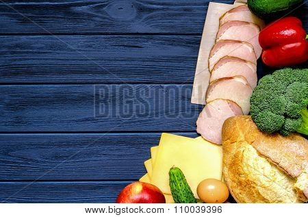Set Of Products For Cooking - Apple, Bell Pepper, Cucumber, Fresh Bread, Eggs, Sliced Ham, Broccoli,