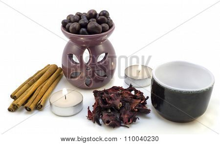 Tea Ceremony By Candlelight With Cinnamon, Roses, Cup, Chocolate Isolated On White