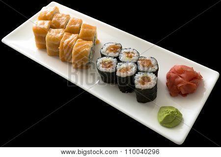 Sushi Set California With Wasabi On White Plate Isolated On Black