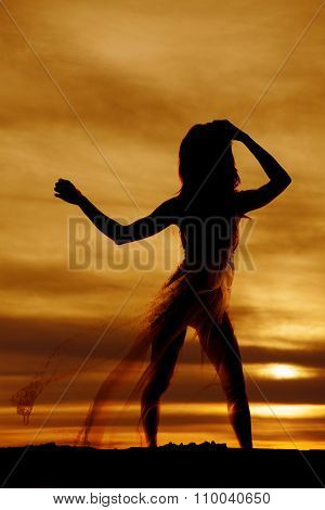 Silhouette Of A Woman In Lingerie Nightgown Blowing