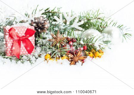 Christmas decoration on white background. Isolated on white. Christmas Card