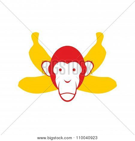 Monkey And Bananas. Chimpanzee Head And Crossed Bananas. Red Monkey Symbol For Chinese New Year 2016