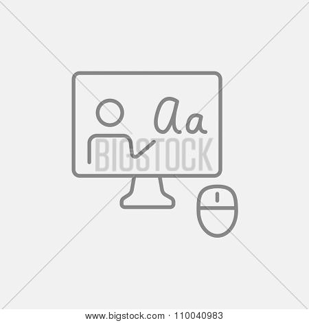 Computer monitor with online tutorial line icon for web, mobile and infographics. Vector dark grey icon isolated on light grey background.