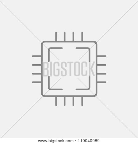 CPU line icon for web, mobile and infographics. Vector dark grey icon isolated on light grey background.