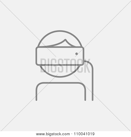 Man wearing virtual reality headset line icon for web, mobile and infographics. Vector dark grey icon isolated on light grey background.