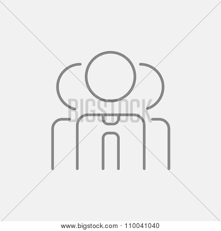 Group of businessmen line icon for web, mobile and infographics. Vector dark grey icon isolated on light grey background.