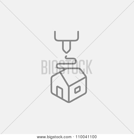Tree D printing line icon for web, mobile and infographics. Vector dark grey icon isolated on light grey background.