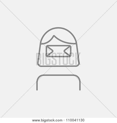 Woman wearing virtual reality headset line icon for web, mobile and infographics. Vector dark grey icon isolated on light grey background.