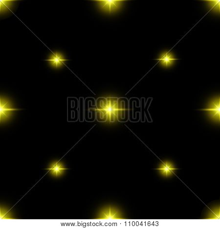 Seamless Pattern Of Luminous Stars. Illusion Of Light Flashes. Yellow Flames On A Black Background.