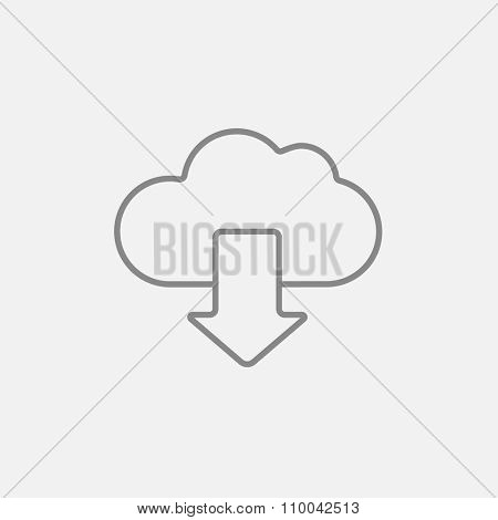 Cloud with arrow down line icon for web, mobile and infographics. Vector dark grey icon isolated on light grey background.