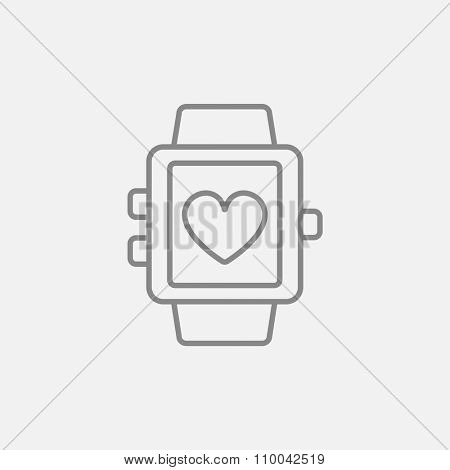Smartwatch with heart sign line icon for web, mobile and infographics. Vector dark grey icon isolated on light grey background.