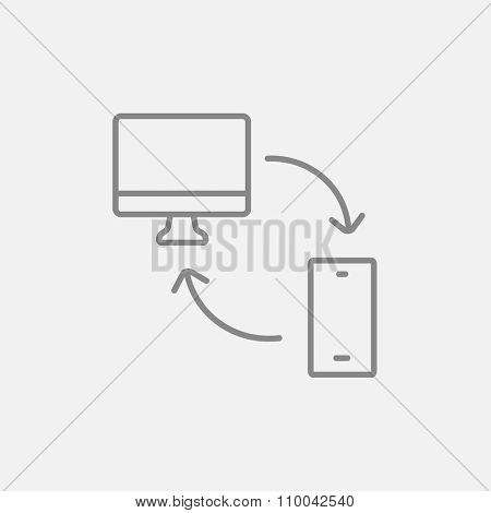 Synchronization computer with mobile device line icon for web, mobile and infographics. Vector dark grey icon isolated on light grey background.