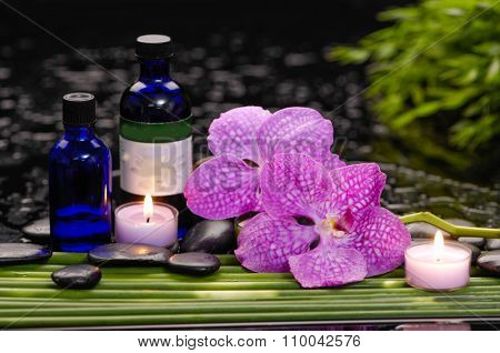 Spa still life with of beautiful orchid and oil, candle and bamboo grove