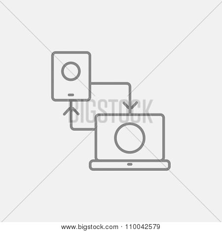 Synchronization smartphone with laptop line icon for web, mobile and infographics. Vector dark grey icon isolated on light grey background.
