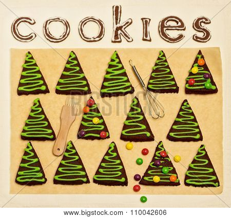 New Year's And Christmas Gingerbread Trees (ginger And Honey Cookies) Decorated With Green Glaze And