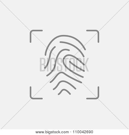 Fingerprint scanning line icon for web, mobile and infographics. Vector dark grey icon isolated on light grey background.