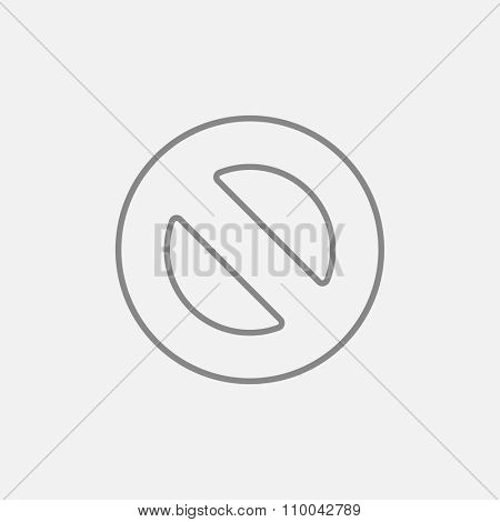 Not allowed sign line icon for web, mobile and infographics. Vector dark grey icon isolated on light grey background.