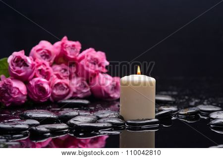 bouquet pink rose with candle and therapy stones
