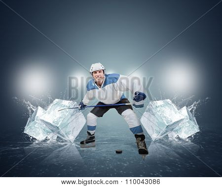 Hockey Player With Ice Cubes
