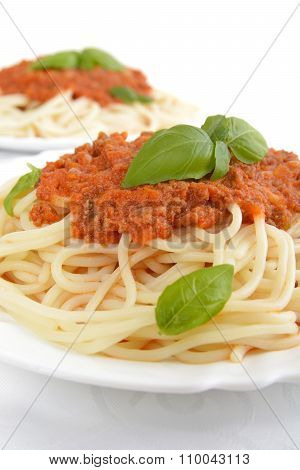 Pasta With Ragu A'la Bolognese On White Background