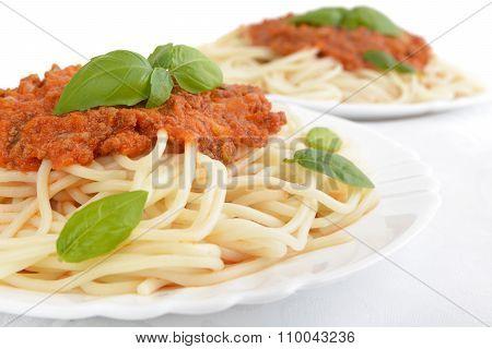 Close Up Pasta Ragu Alla Bolognese Sauce On White