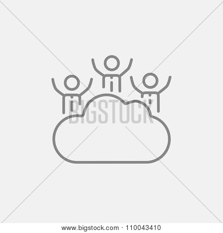Cloud computing line icon for web, mobile and infographics. Vector dark grey icon isolated on light grey background.