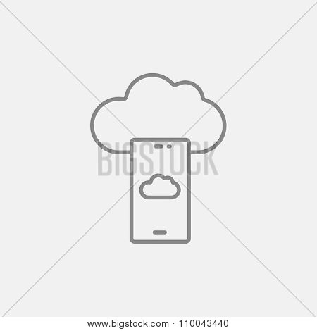 Cloud and smartphone line icon for web, mobile and infographics. Vector dark grey icon isolated on light grey background.