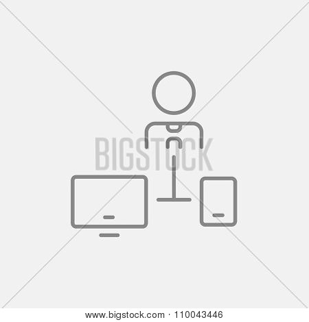 Man linked with computer and phone  line icon for web, mobile and infographics. Vector dark grey icon isolated on light grey background.
