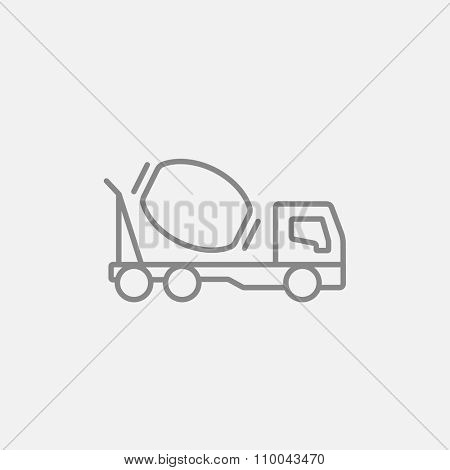 Concrete mixer truck line icon for web, mobile and infographics. Vector dark grey icon isolated on light grey background.