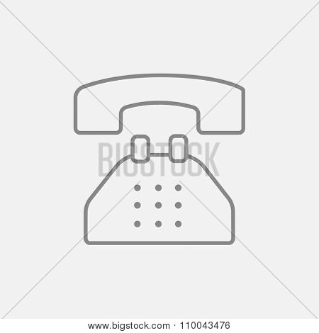 Telephone line icon for web, mobile and infographics. Vector dark grey icon isolated on light grey background.