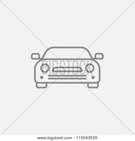 Car line icon for web, mobile and infographics. Vector dark grey icon isolated on light grey background.