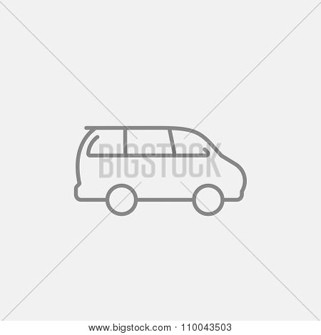 Minivan line icon for web, mobile and infographics. Vector dark grey icon isolated on light grey background.