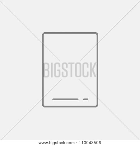 Touch screen tablet line icon for web, mobile and infographics. Vector dark grey icon isolated on light grey background.