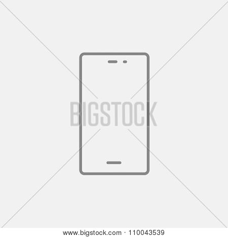 Mobile phone line icon for web, mobile and infographics. Vector dark grey icon isolated on light grey background.