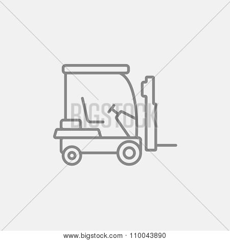 Forklift line icon for web, mobile and infographics. Vector dark grey icon isolated on light grey background.