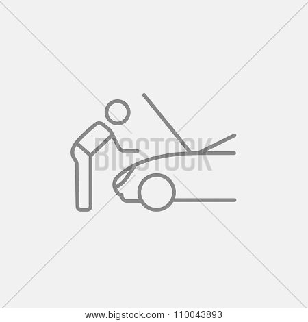 Man fixing car line icon for web, mobile and infographics. Vector dark grey icon isolated on light grey background.