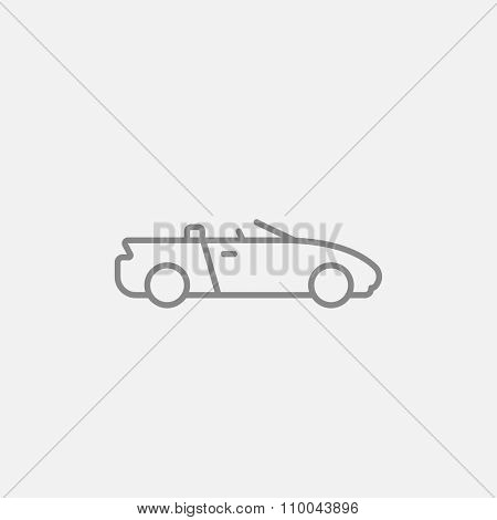 Convertible car line icon for web, mobile and infographics. Vector dark grey icon isolated on light grey background.