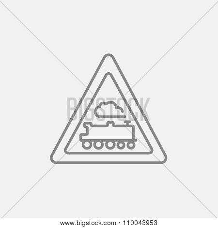 Train sign line icon for web, mobile and infographics. Vector dark grey icon isolated on light grey background.