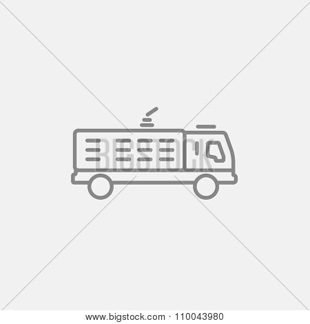 Fire truck line icon for web, mobile and infographics. Vector dark grey icon isolated on light grey background.