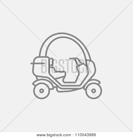 Rickshaw line icon for web, mobile and infographics. Vector dark grey icon isolated on light grey background.