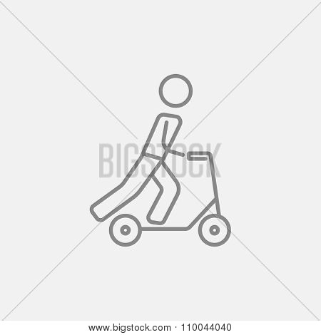 Man riding a kick scooter line icon for web, mobile and infographics. Vector dark grey icon isolated on light grey background.