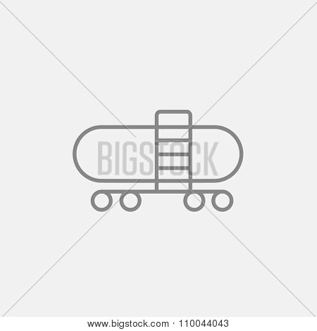 Railway cistern line icon for web, mobile and infographics. Vector dark grey icon isolated on light grey background.