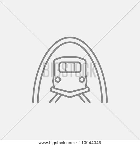 Railway tunnel line icon for web, mobile and infographics. Vector dark grey icon isolated on light grey background.