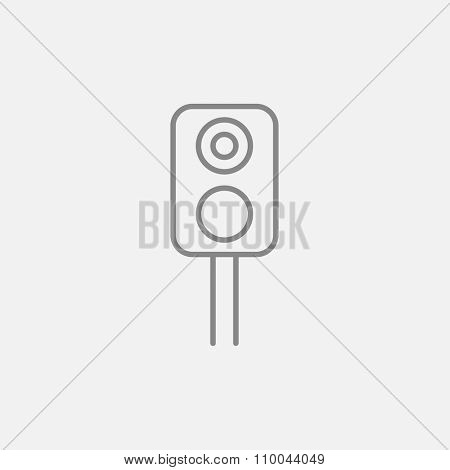 Railway traffic light line icon for web, mobile and infographics. Vector dark grey icon isolated on light grey background.