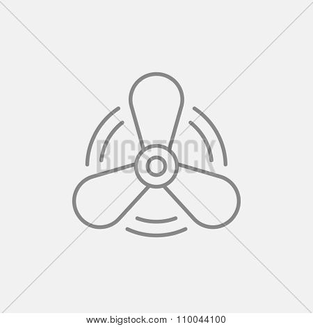 Boat propeller line icon for web, mobile and infographics. Vector dark grey icon isolated on light grey background.